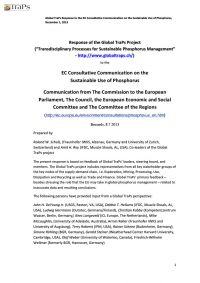 Global TraPs Response to the EU Consultative Communication on the Sustainable Use of Phosphorus, December 1, 2013